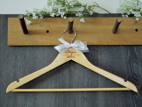 Personalised Wooden Wedding Hanger with Bow, Bride Bridesmaid - Heart
